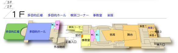 桜十字ホールやつしろ1階 平面図
