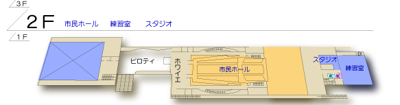 桜十字ホールやつしろ2階 平面図