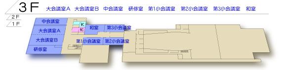 桜十字ホールやつしろ3階 平面図
